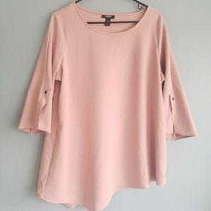 Alfani Woman Blush Pink Assymetrical Top Size 1X
